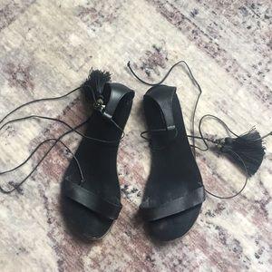 Tassel Lace Up Sandals